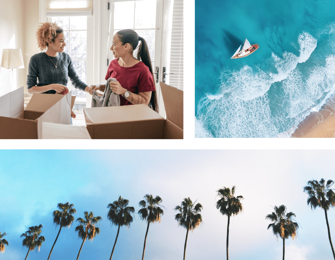 A mosaic including image of the beach and palm trees and two women packing boxes for storage at Carlsbad Self Storage in Carlsbad, California