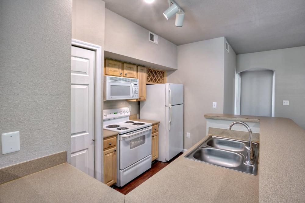 Bright and modern kitchen at Marquis Bandera in San Antonio, Texas