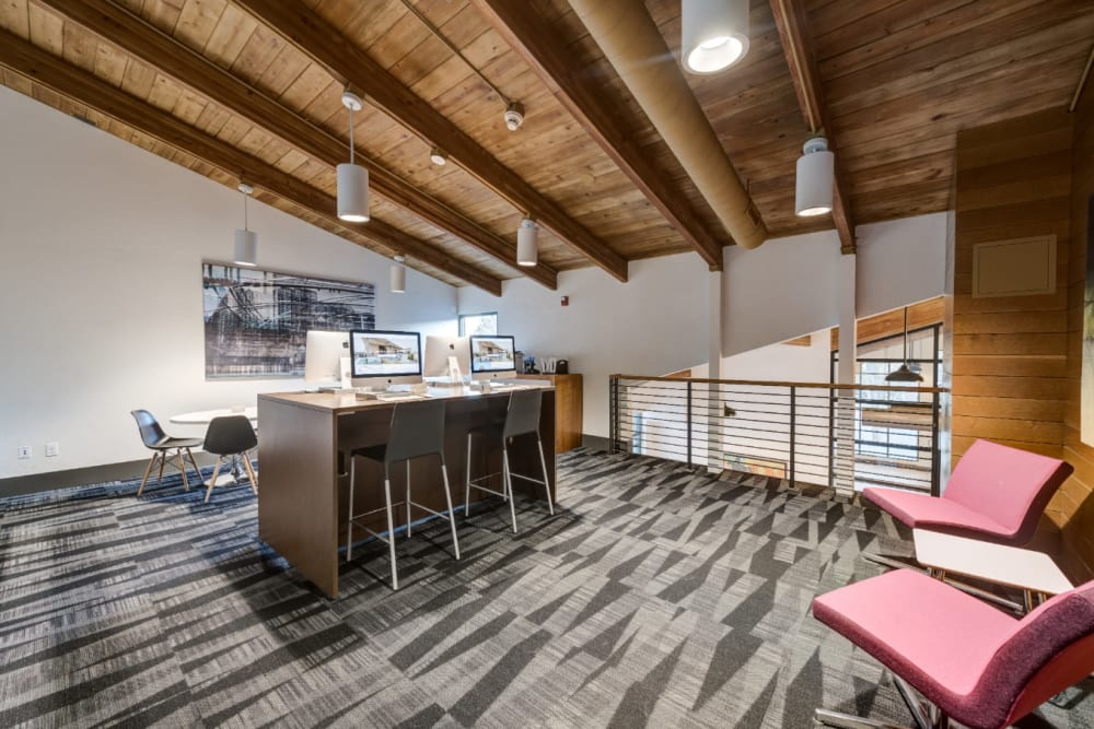 Spacious business center with multiple work stations and Wi-Fi at Ashford Belmar in Lakewood, Colorado
