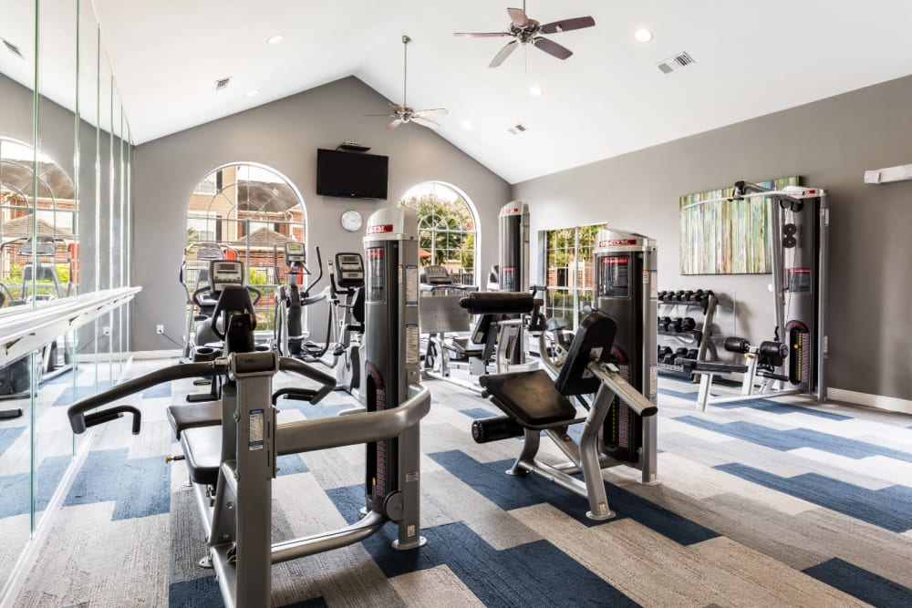 Weight machines in fitness room at Marquis on Park Row in Houston, Texas