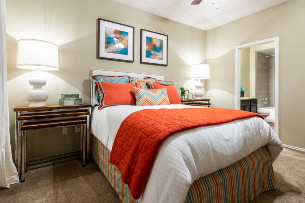 Cozy bedroom at Marquis at Ladera Vista in Austin, Texas