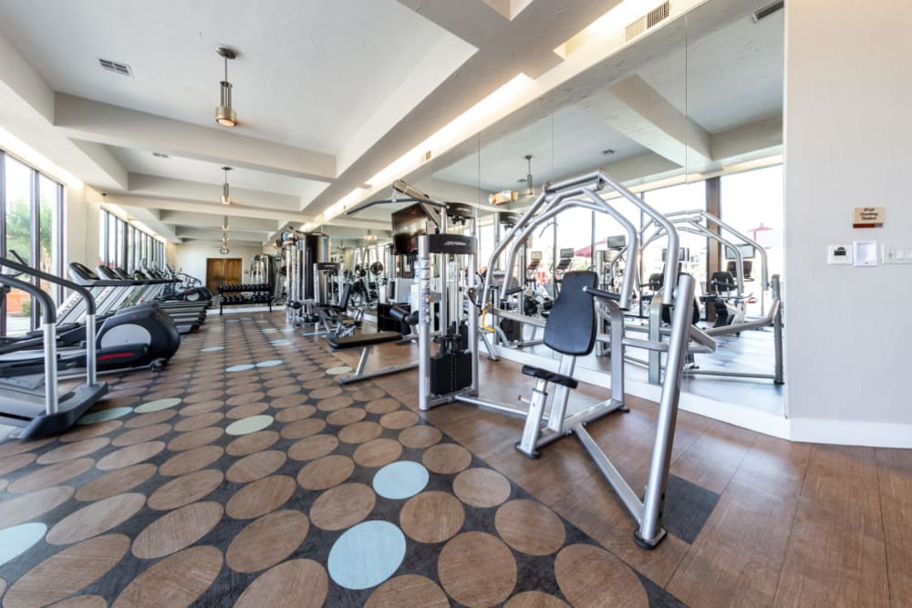 Fully equipped fitness center at Marquis at the Reserve in Katy, Texas