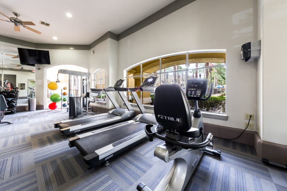Cardio machines in the fitness center at Marquis at Clear Lake in Webster, Texas