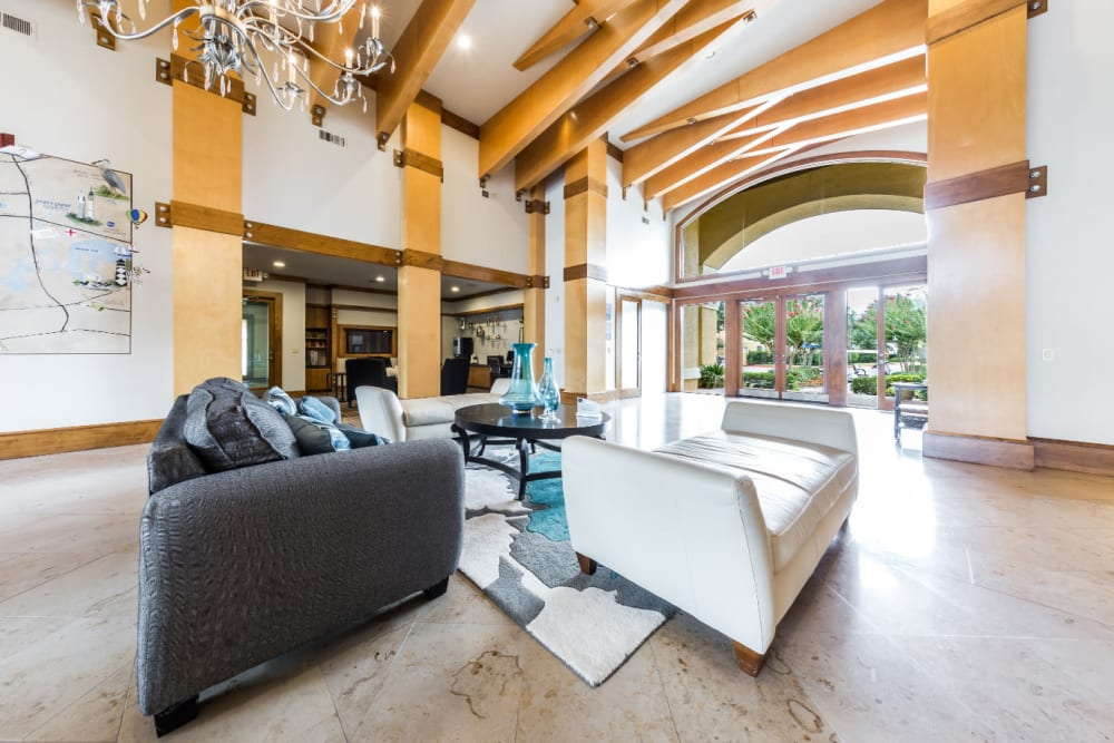 Community clubhouse lobby sitting area at Marquis at Clear Lake in Webster, Texas
