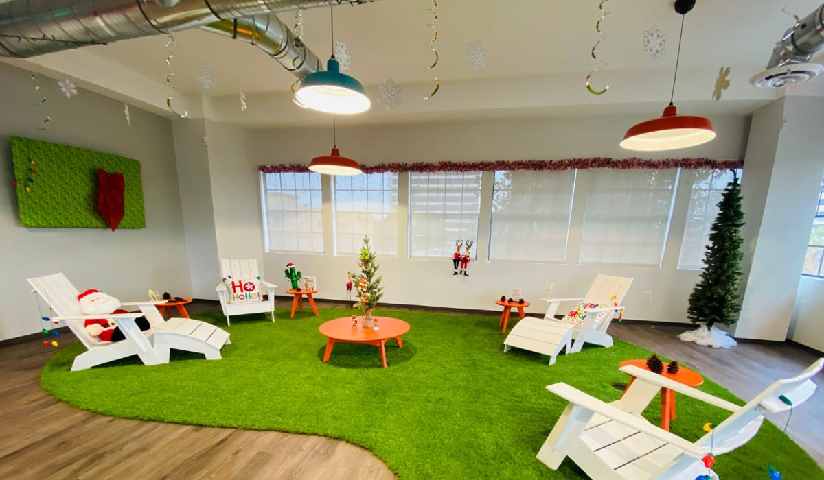 Christmas decorations on the indoor putting green at E&S Ring Management Corporation in Los Angeles, California