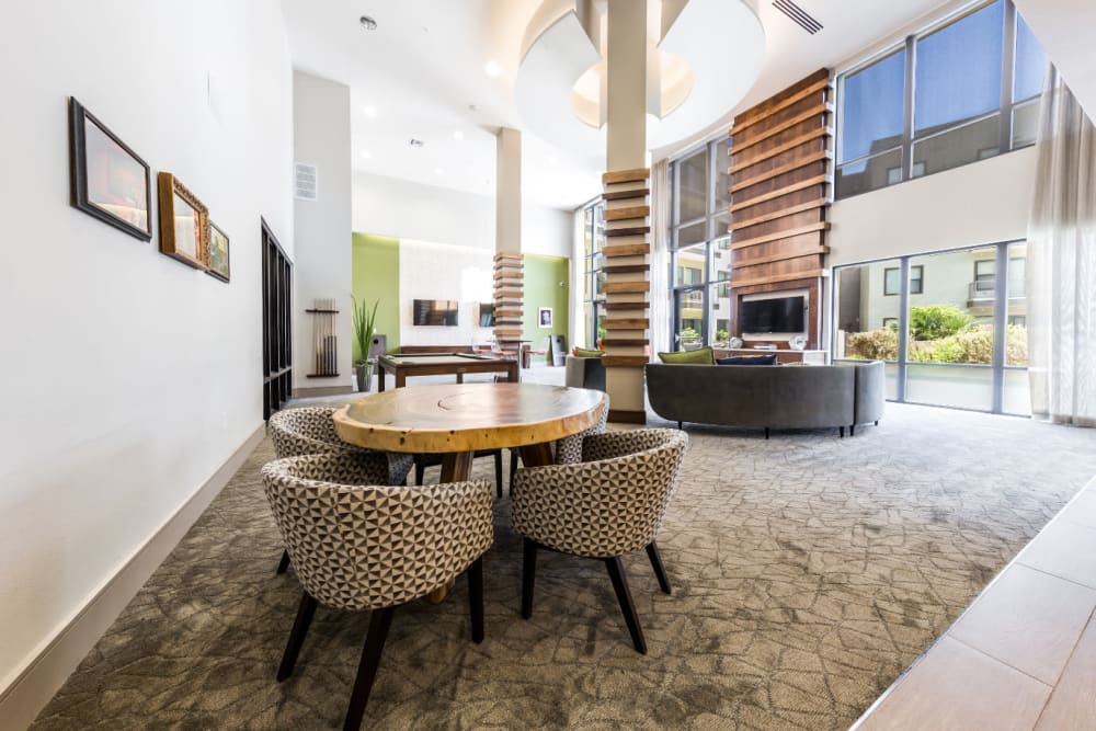 Dining area in large community room at Marq Uptown in Austin, Texas