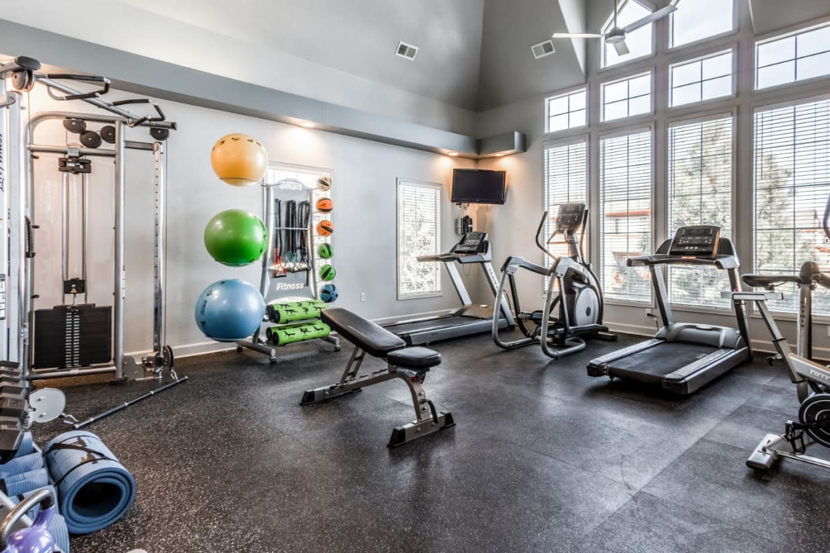 Fully equipped fitness center at The Links at Plum Creek in Castle Rock, Colorado