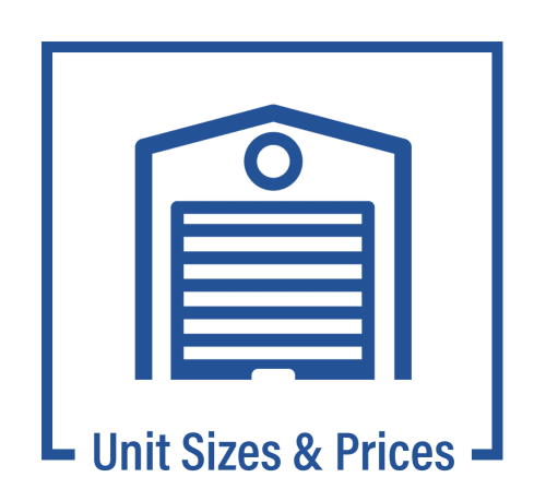 Unit sizes and prices graphic for Hayward Storage LLC in Hayward, California