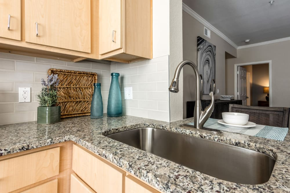Expansive granite countertops and deep sinks at The Links at Plum Creek in Castle Rock, Colorado