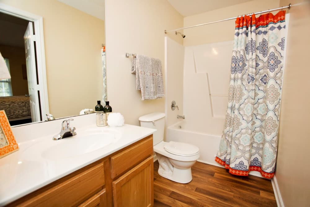 Beautiful bathroom at Mountaineer Village in Boone, North Carolina