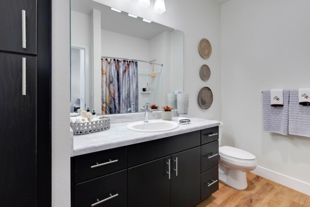 Luxurious bathroom in a model home at Olympus Rodeo in Santa Fe, New Mexico