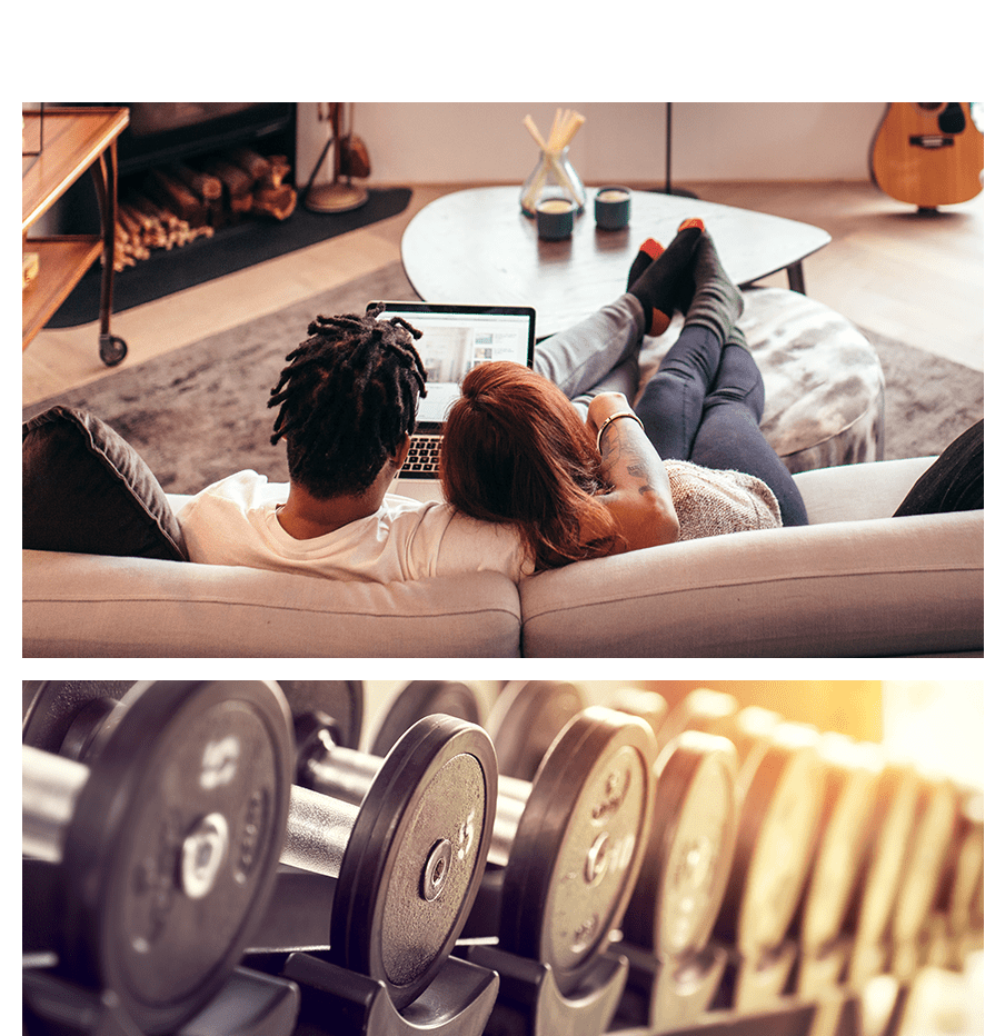 Couple cuddling on their couch and a close up of dumbbells at Alta SoBo Station in Denver, Colorado