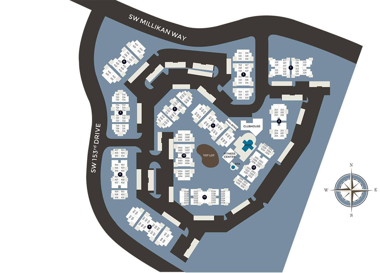 Community site map for Center Pointe Apartment Homes in Beaverton, Oregon