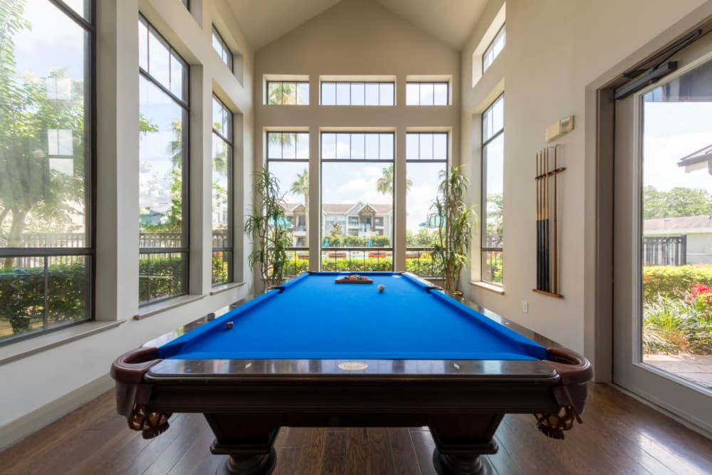 Pool table in community clubhouse at Marquis at Sugar Land in Sugar Land, Texas