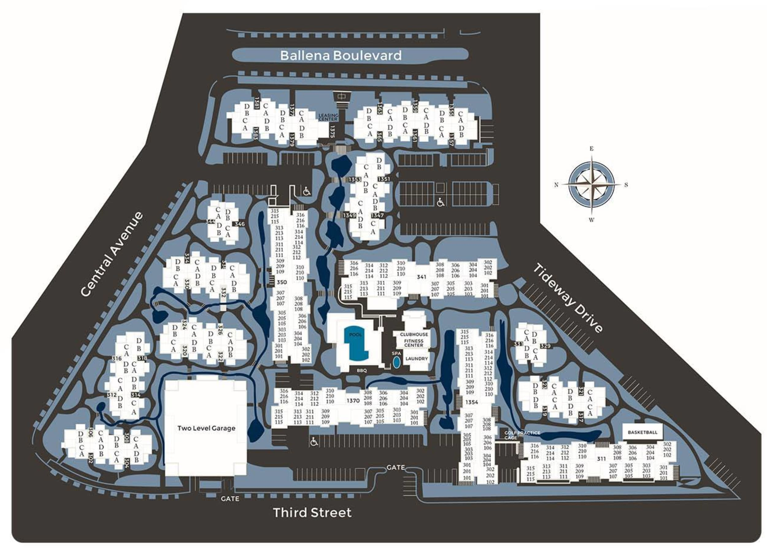 Community site map for Ballena Village Apartment Homes in Alameda, California