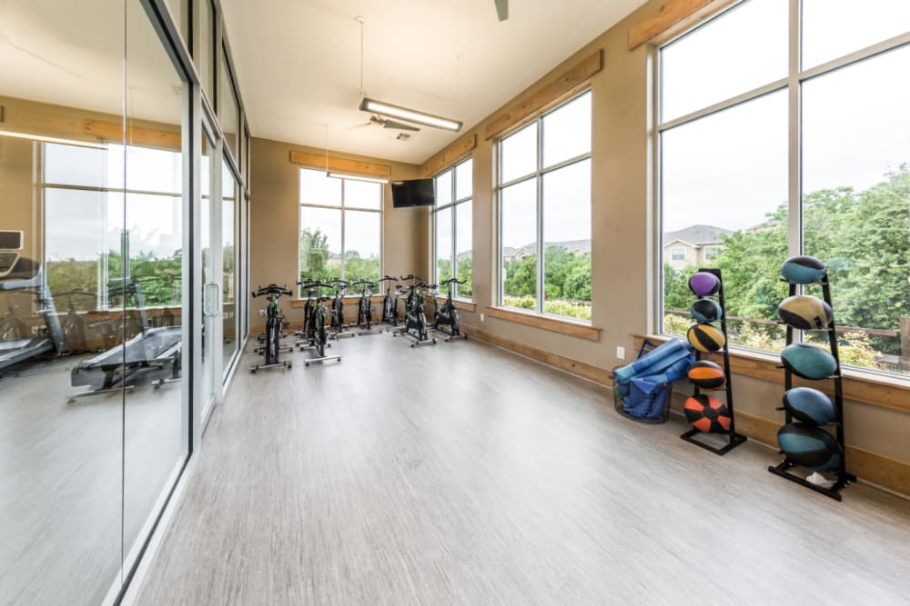 Spin class area at Marquis at Canyon Ridge in Austin, Texas