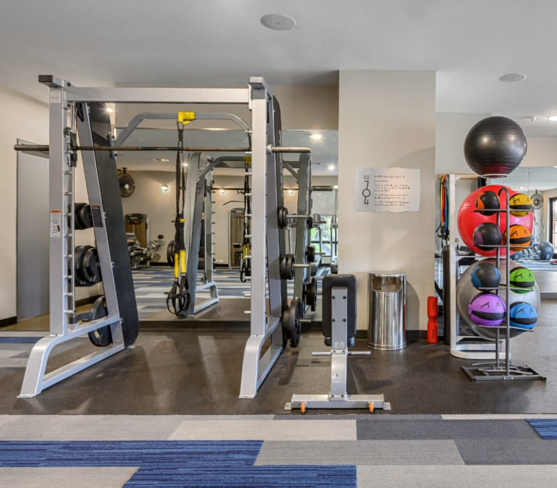 Fully equipped fitness room at The 704 in Austin, Texas