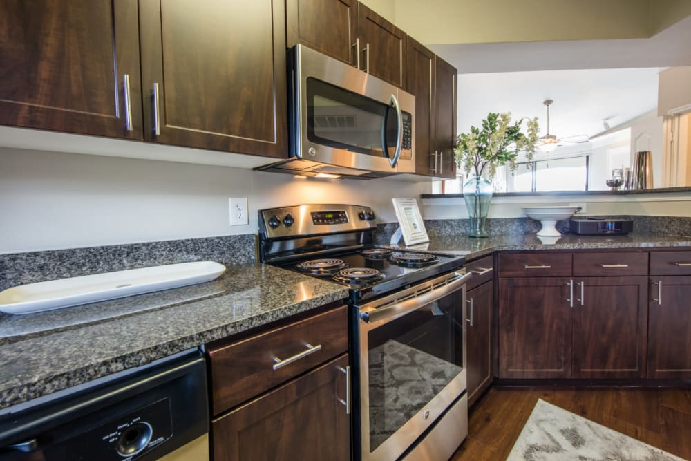 Stainless steel appliances in modern-style kitchen at Marquis at Treetops in Austin, Texas