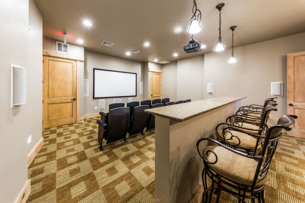 Private community theater at Marquis at Canyon Ridge in Austin, Texas