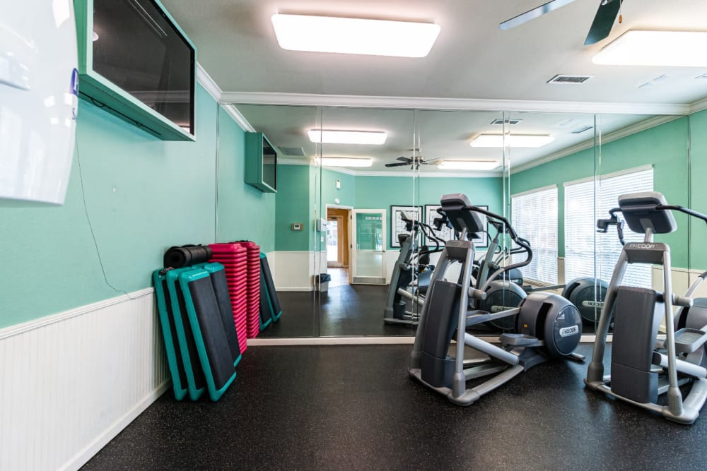 Elliptical machines facing television monitor in fitness room at Marquis of Carmel Valley in Charlotte, North Carolina