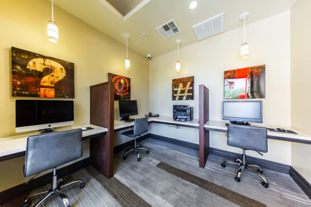 Executive business center with private workstations at Marquis at Desert Ridge in Phoenix, Arizona