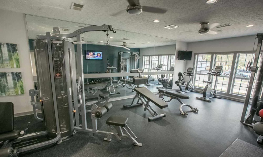 Fitness center at Hunter's Chase Apartments in Westlake