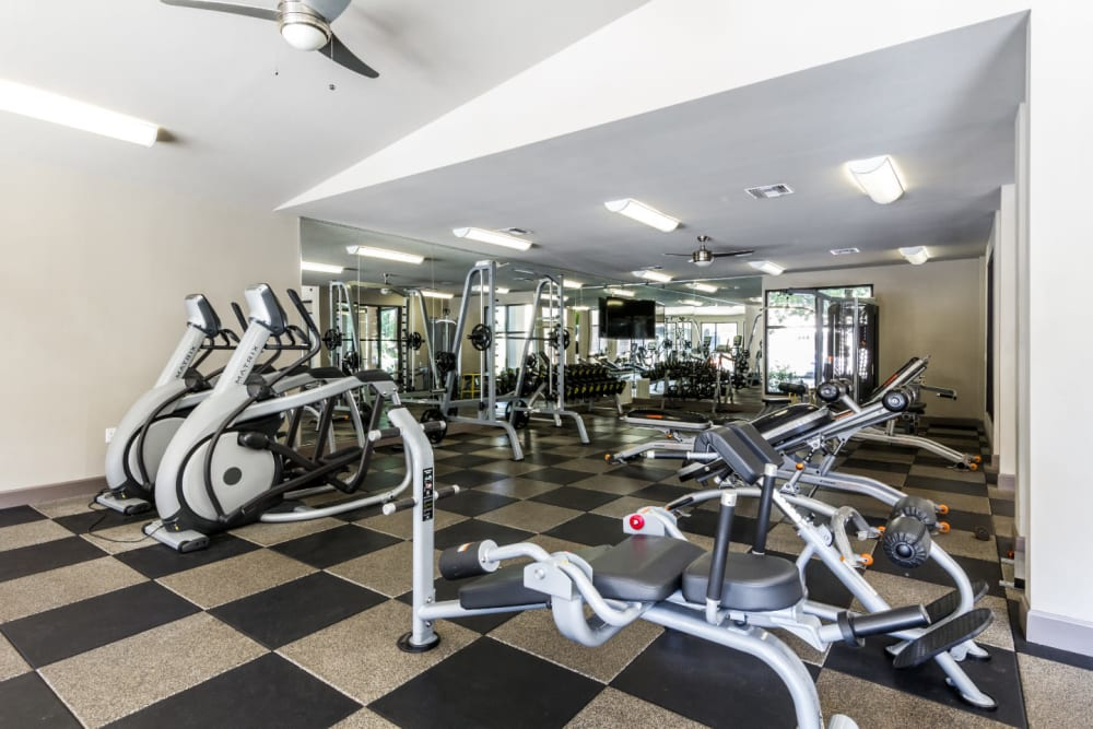 Fully equipped fitness center with multiple exercise machines at Marquis at Barton Trails in Austin, Texas
