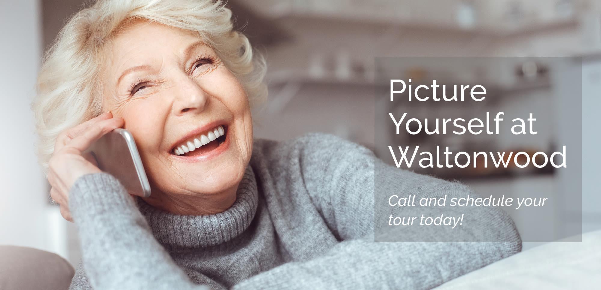 Woman on phone at Waltonwood.
