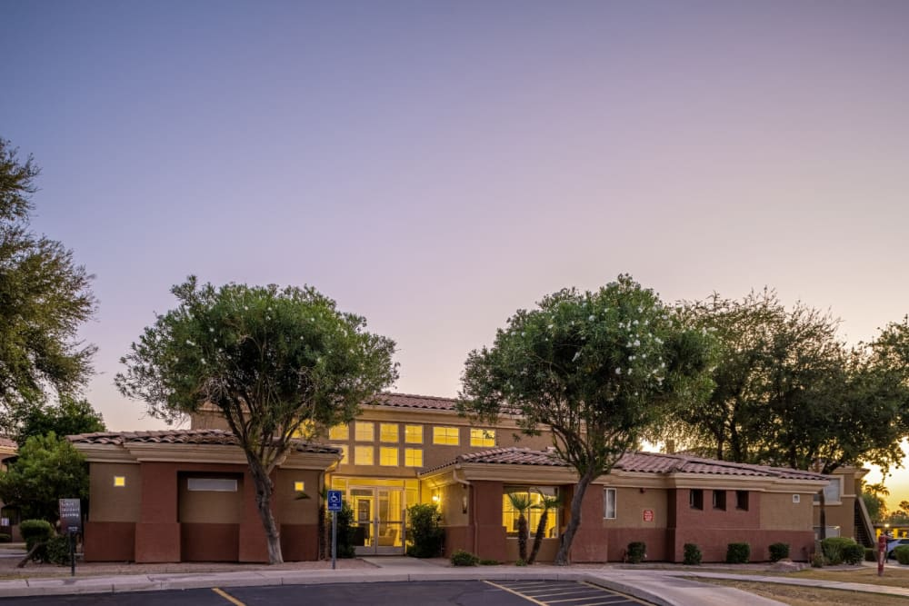 Sunset main exterior of Alante at the Islands in Chandler, Arizona