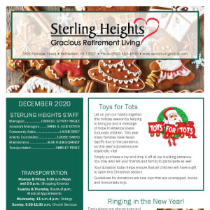 December Sterling Heights Gracious Retirement Living newsletter