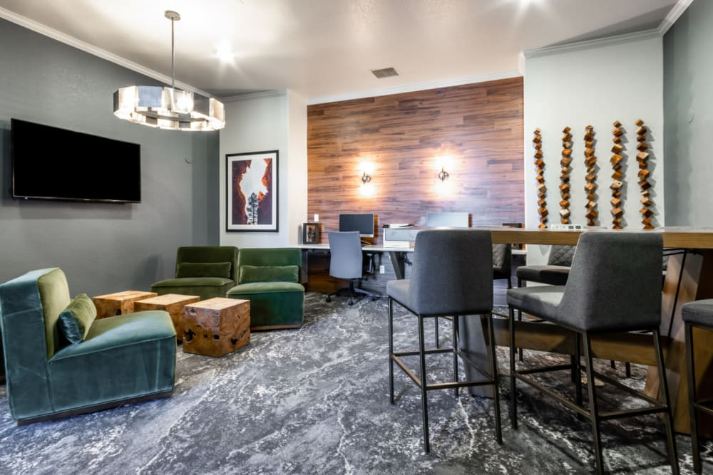 Expansive media center equipped with Wi-Fi and a coffee bar at The Links at Plum Creek in Castle Rock, Colorado