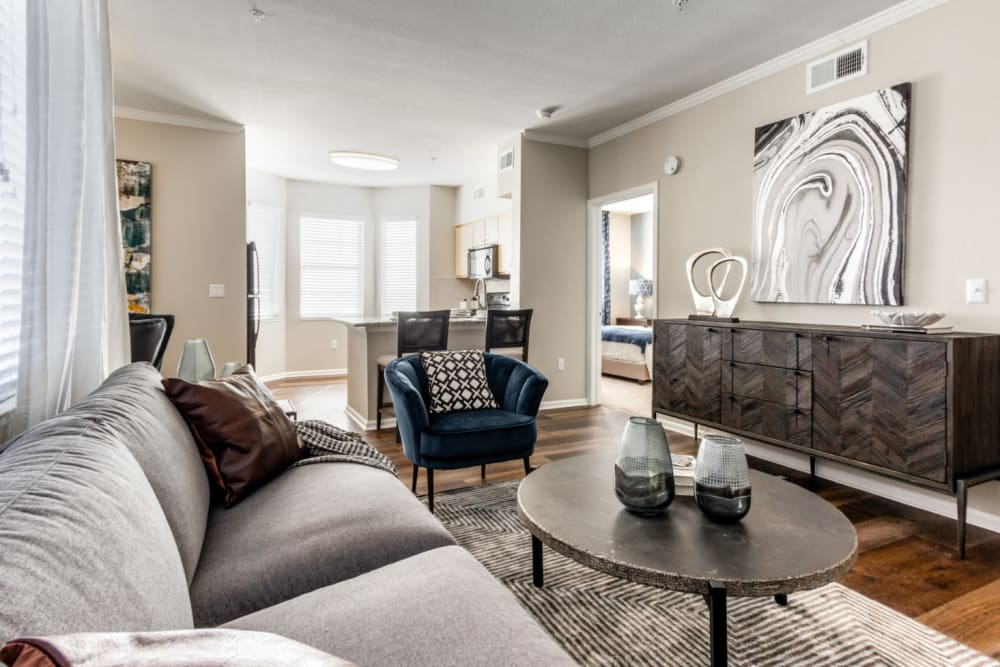 Spacious living room with mountain views at The Links at Plum Creek in Castle Rock, Colorado