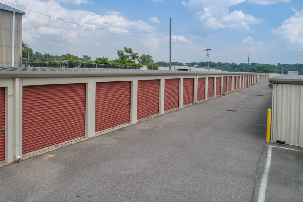 Outside storage units and a wide driveway at Apperson Self Storage 2