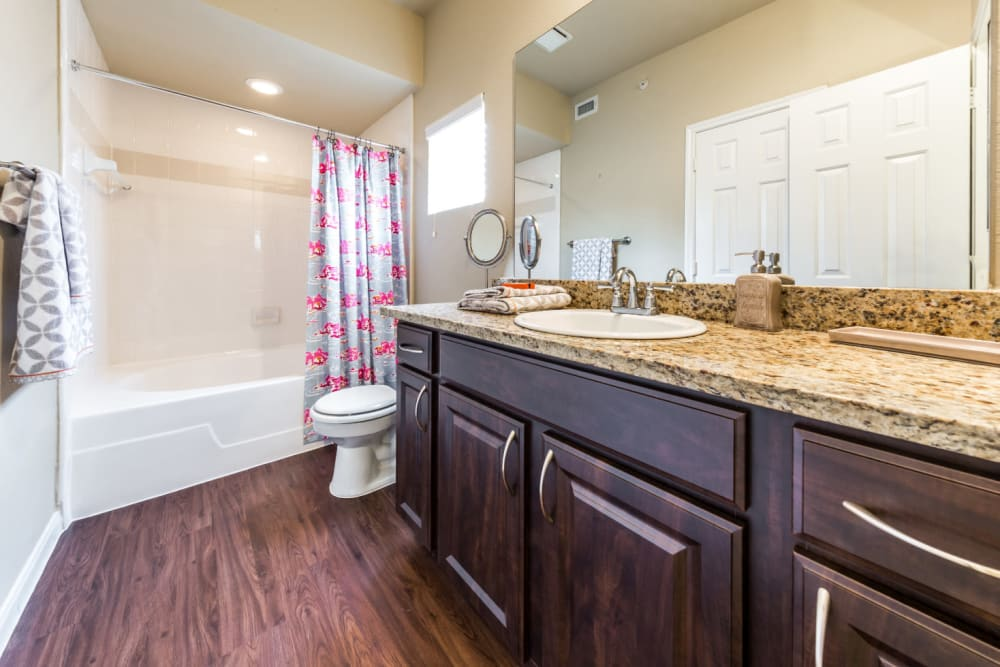 Bright bathroom with granite counter and full size bathtub at Marquis at Stonegate in Fort Worth, Texas