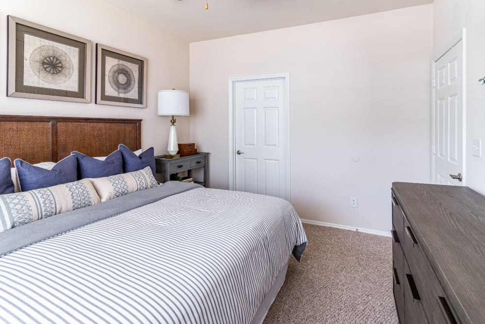Large carpeted bedroom with walk in closet at Marquis of Carmel Valley in Charlotte, North Carolina