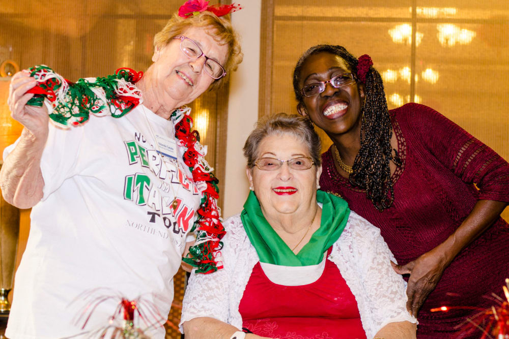 Resident and staff members celebrating the holidays at Merrill Gardens at Green Valley Ranch in Henderson, Nevada.
