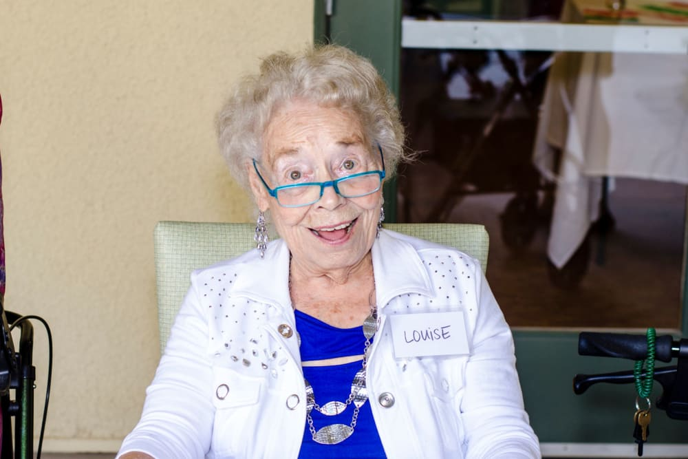 A Resident smiling at Merrill Gardens at Green Valley Ranch in Henderson, Nevada
