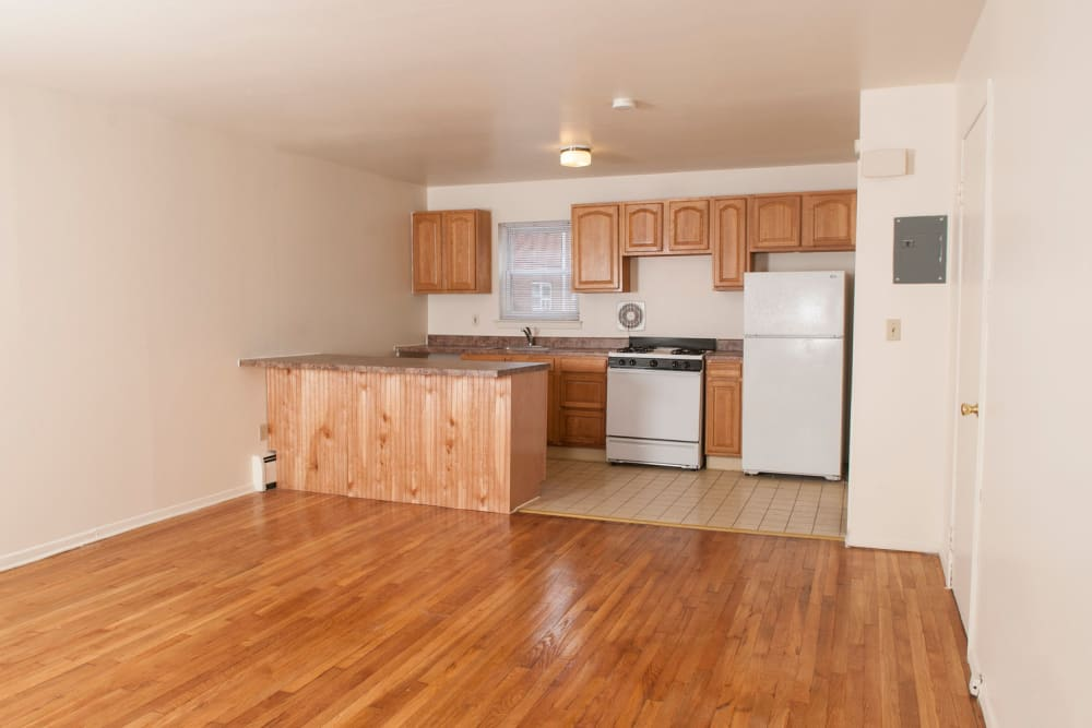 Kitchen with hardwood floors at 84-90 Essex Street in Hackensack, New Jersey