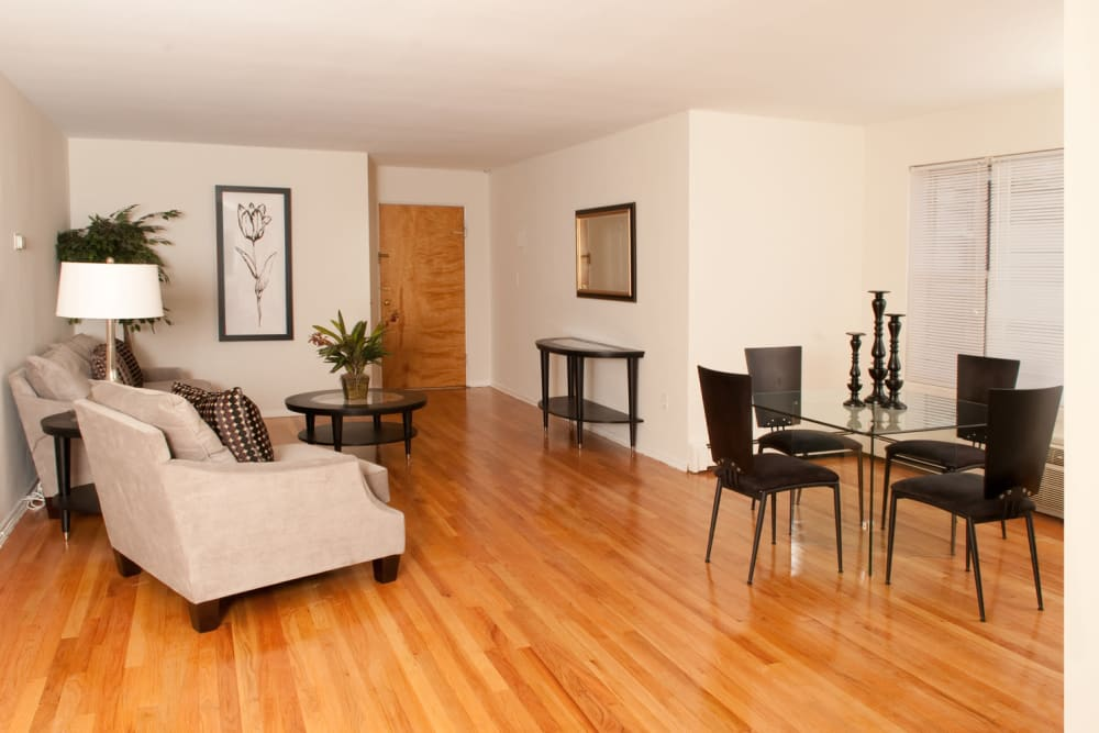 Model living room at Lafayette Park Apartments in Hawthorne, New Jersey