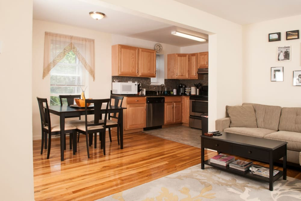 Living room model at Prospect Ridge Apartments in Hackensack, New Jersey