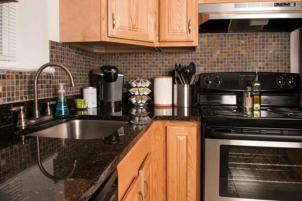 Kitchen model at Prospect Ridge Apartments in Hackensack, New Jersey