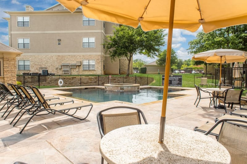 A large pool at The Aidan in Lewisville, Texas