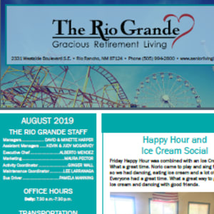 August The Rio Grande Gracious Retirement Living newsletter