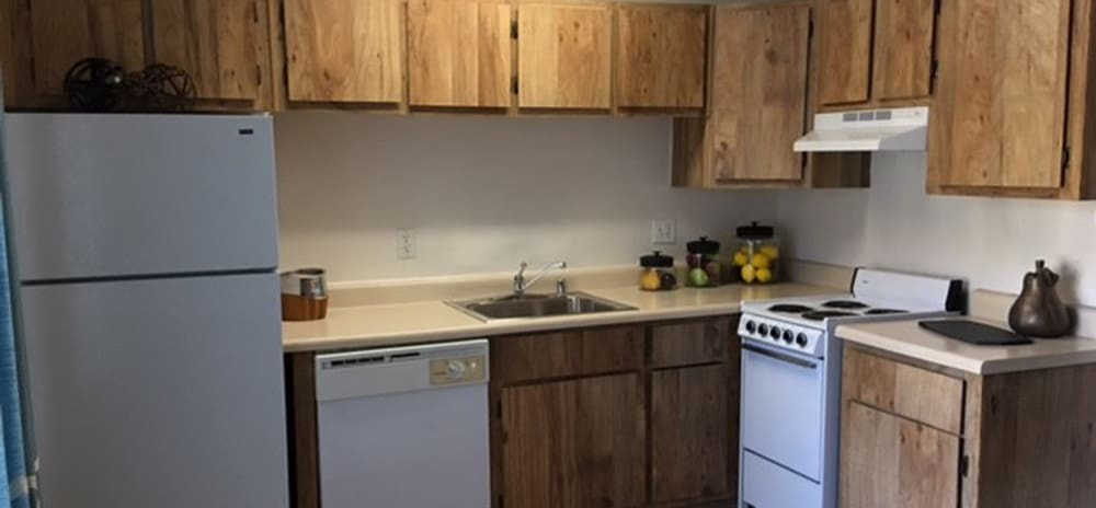 Well equipped kitchen at Vista Alegre apartments