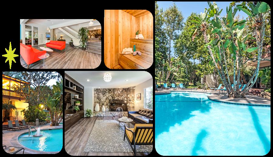Collage of amenity photos at Rancho Los Feliz in Los Angeles, California