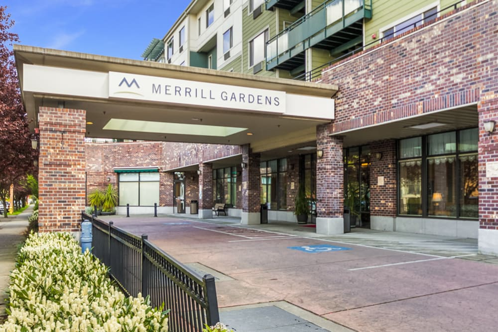Entrance to Merrill Gardens at Renton Centre in Renton, Washington.