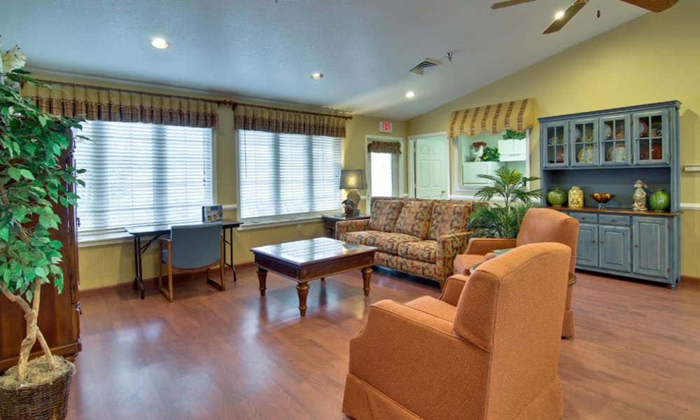 Game room with comfortable seating at NorthRidge Place in Lebanon, MO