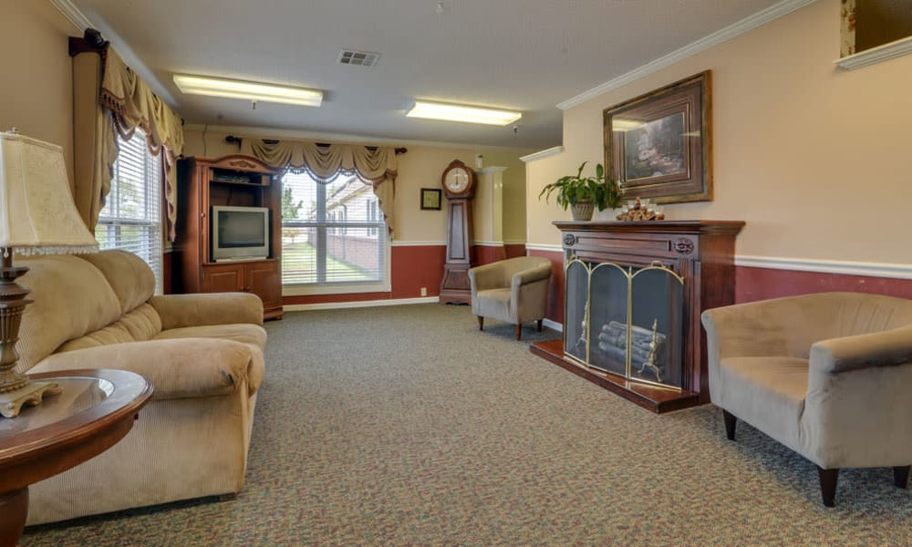 Entertainment room with comfortable seating at Galena Nursing Center in Galena, Kansas