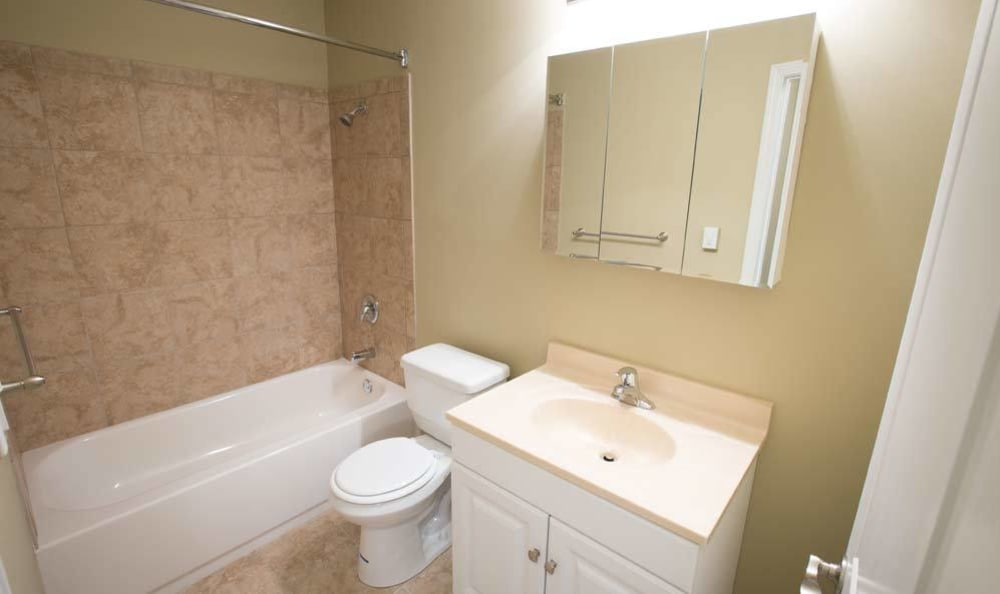 Example bathroom at apartments in Mayfield Heights