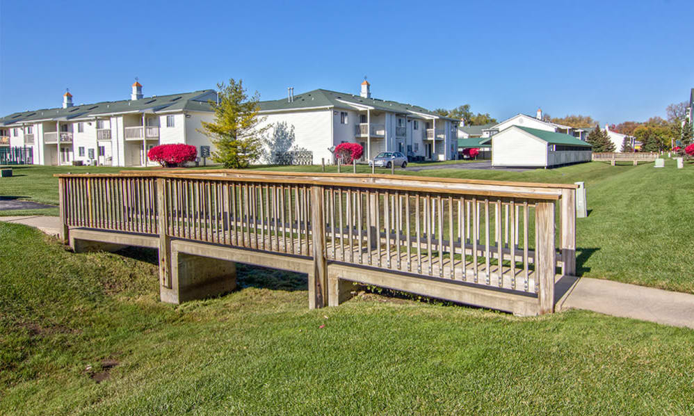 Wooden bridge at Steeplechase Apartments & Townhomes in Toledo, Ohio